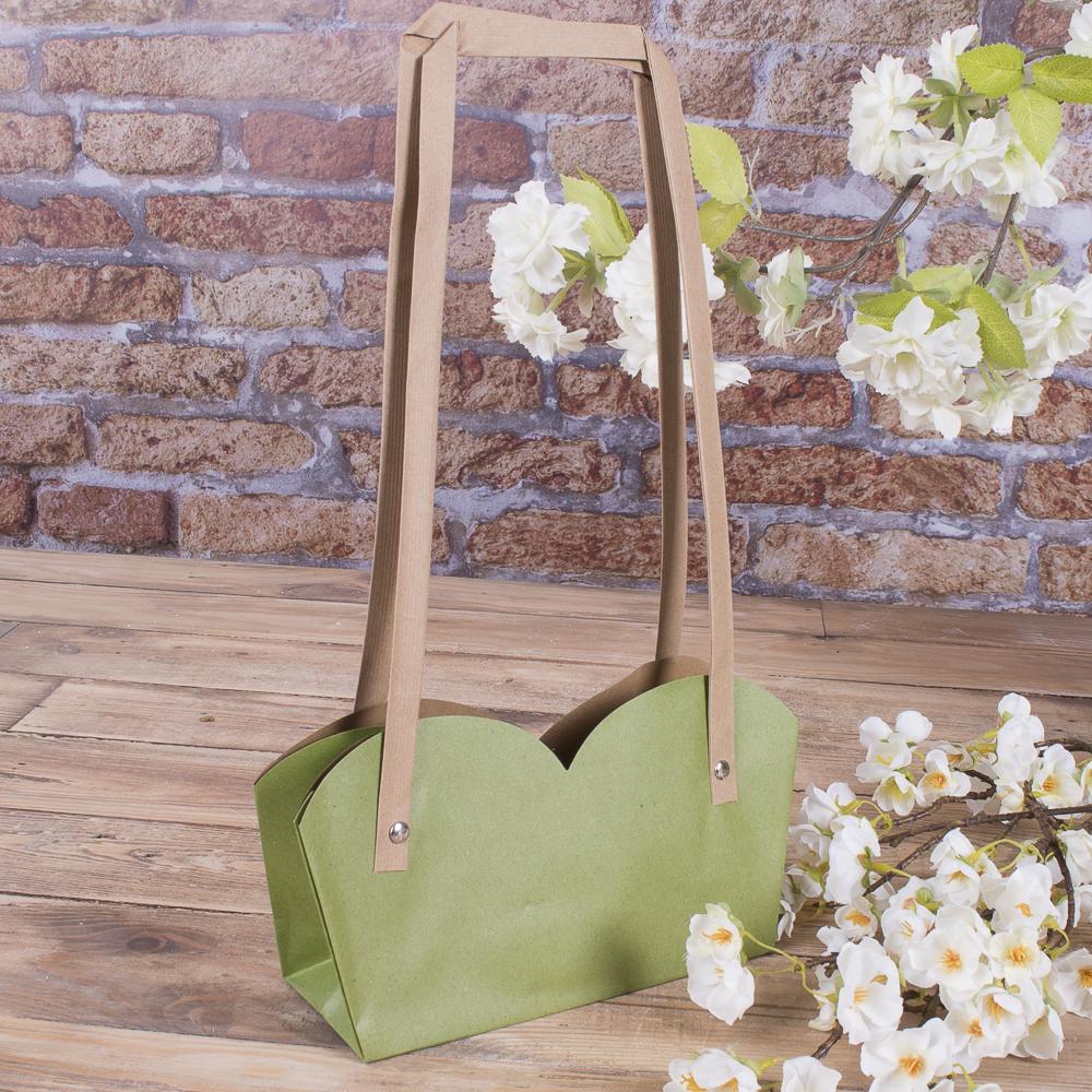 """Пакет под цветы """"двойной с квадратной ручкой"""" (салатовый)"""