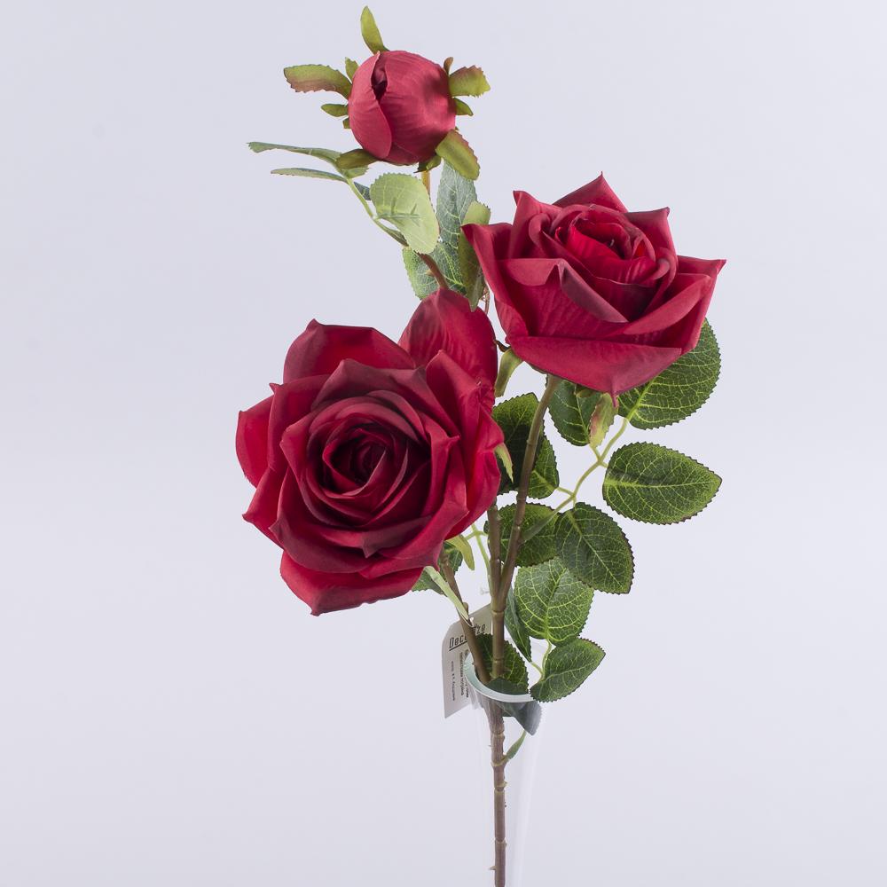 роза премиум тройная бордовая