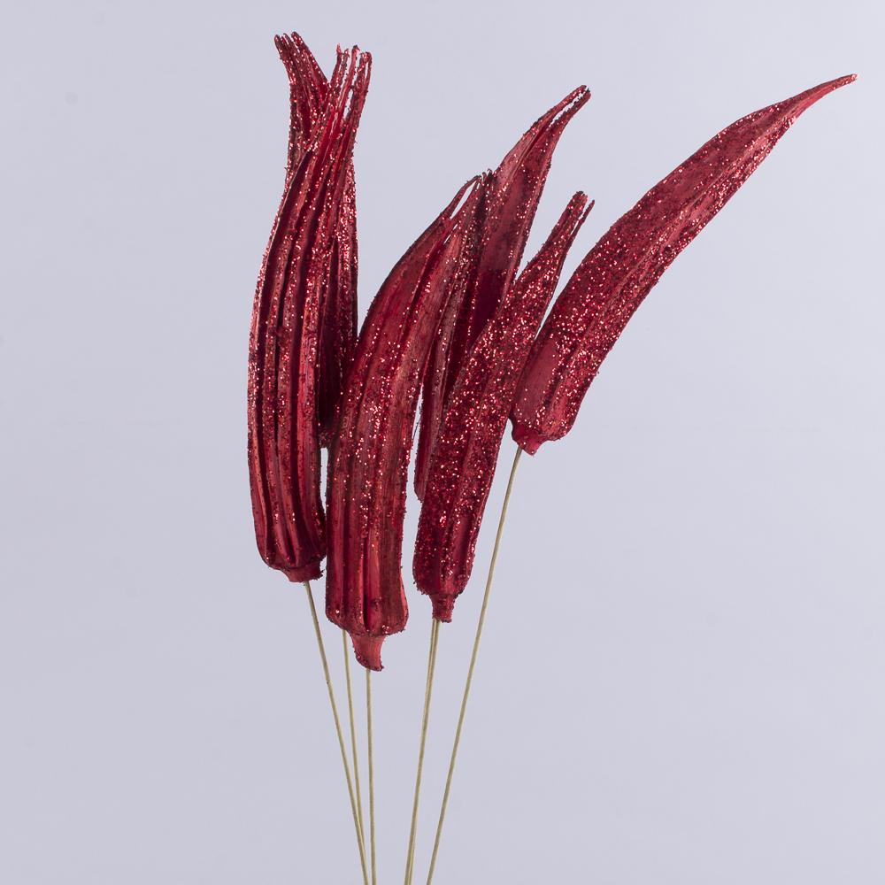 "Сухоцвет ""Okra"" в блестках красная"