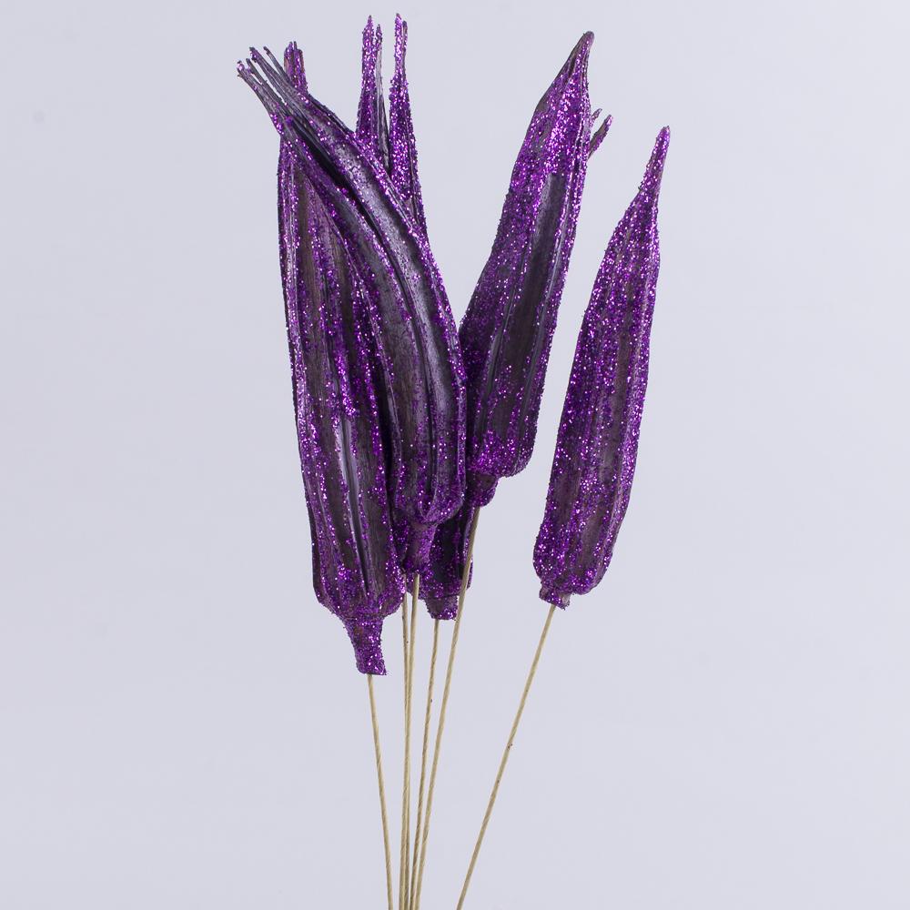 """Сухоцвет """"Okra"""" в блестках фиолетовая"""