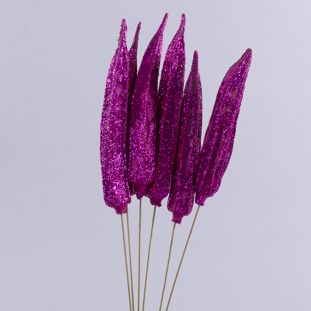 """Сухоцвет """"Okra"""" в блестках малиновая"""