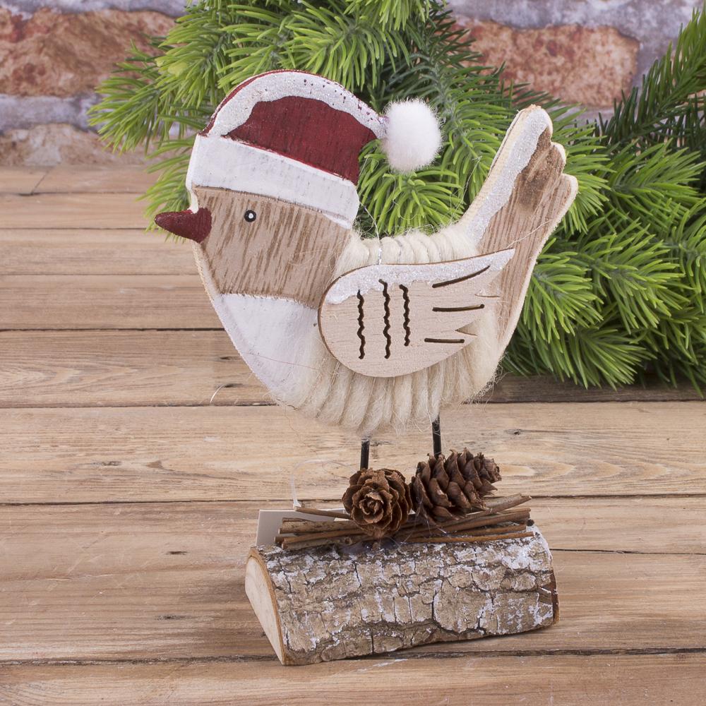деревянная статуэтка воробей с шишками