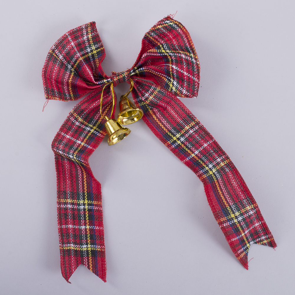 бант в шотландскую клеточку с колокольчиками (28 см) красный