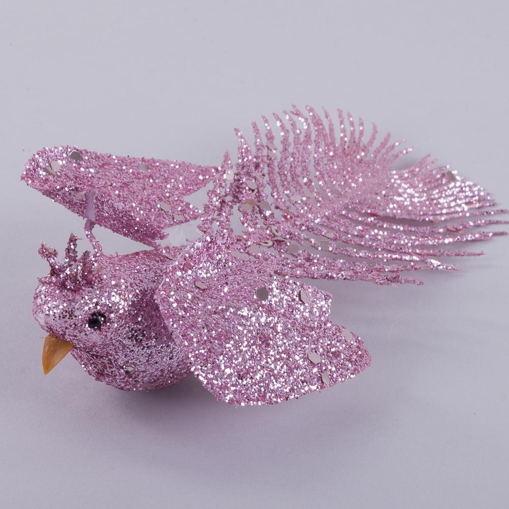 птичка розовая на прищепке