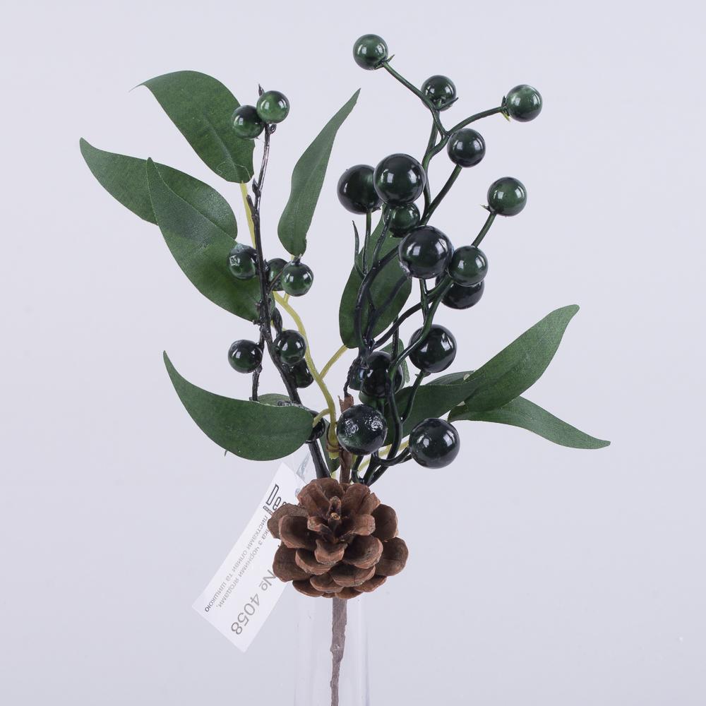 ветка с черными ягодами и шишкой