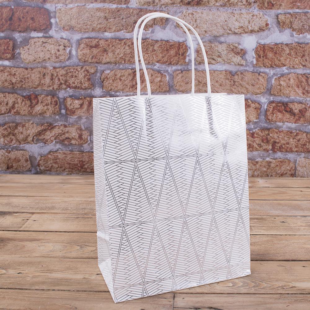 пакет білий в срібні візерунки 18 * 23см  №4