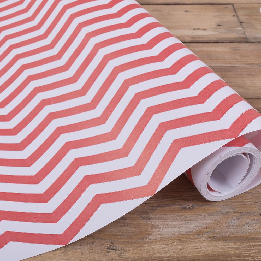 """Упаковочная бумага в рулоне """"зигзаг красный"""" 70см * 10м."""