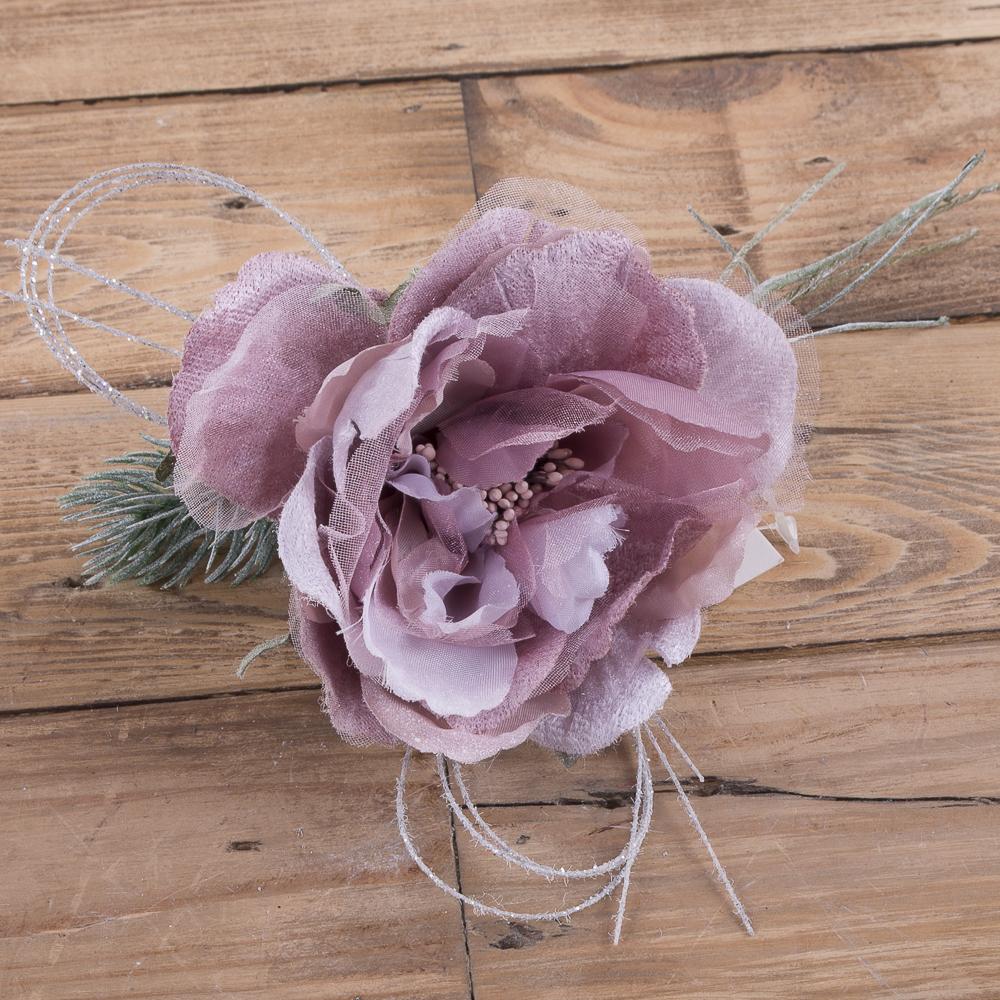 головка розы с елью сливовая