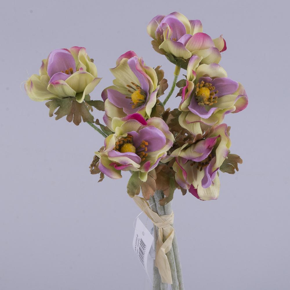 букет анемонов салатово-фиолетовый