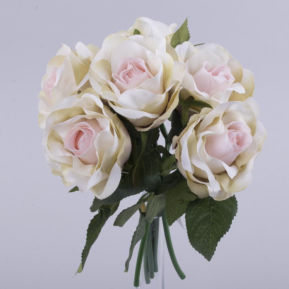 букетик коротких трояндочок рожево-кремовий