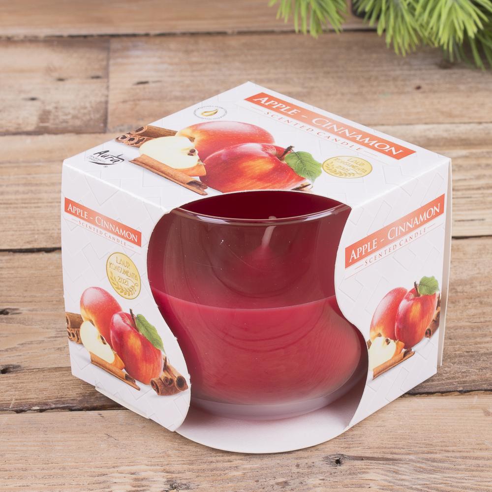 Арома свеча в стакане «яблоко-корица»