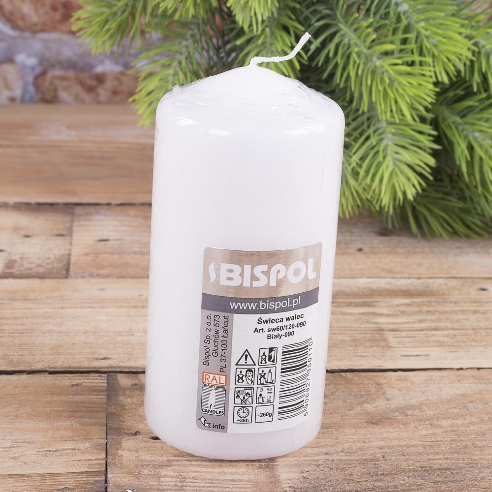 Свеча BISPOL цилиндрическая 60х120мм  белая
