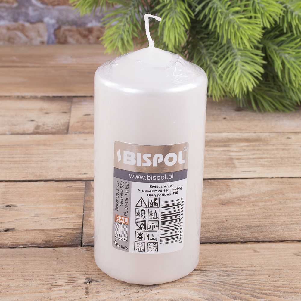 Свеча BISPOL цилиндрическая 60х120мм  белая перламутровая