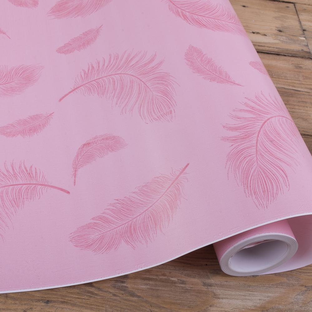 "бумага подарочная ""розовые перья"" 70см * 10м."