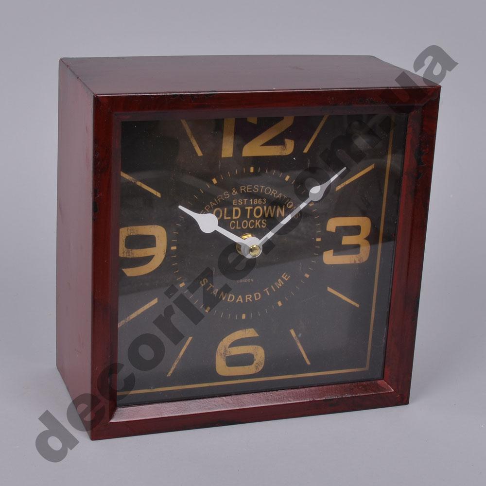 годинник квадратний коричневий