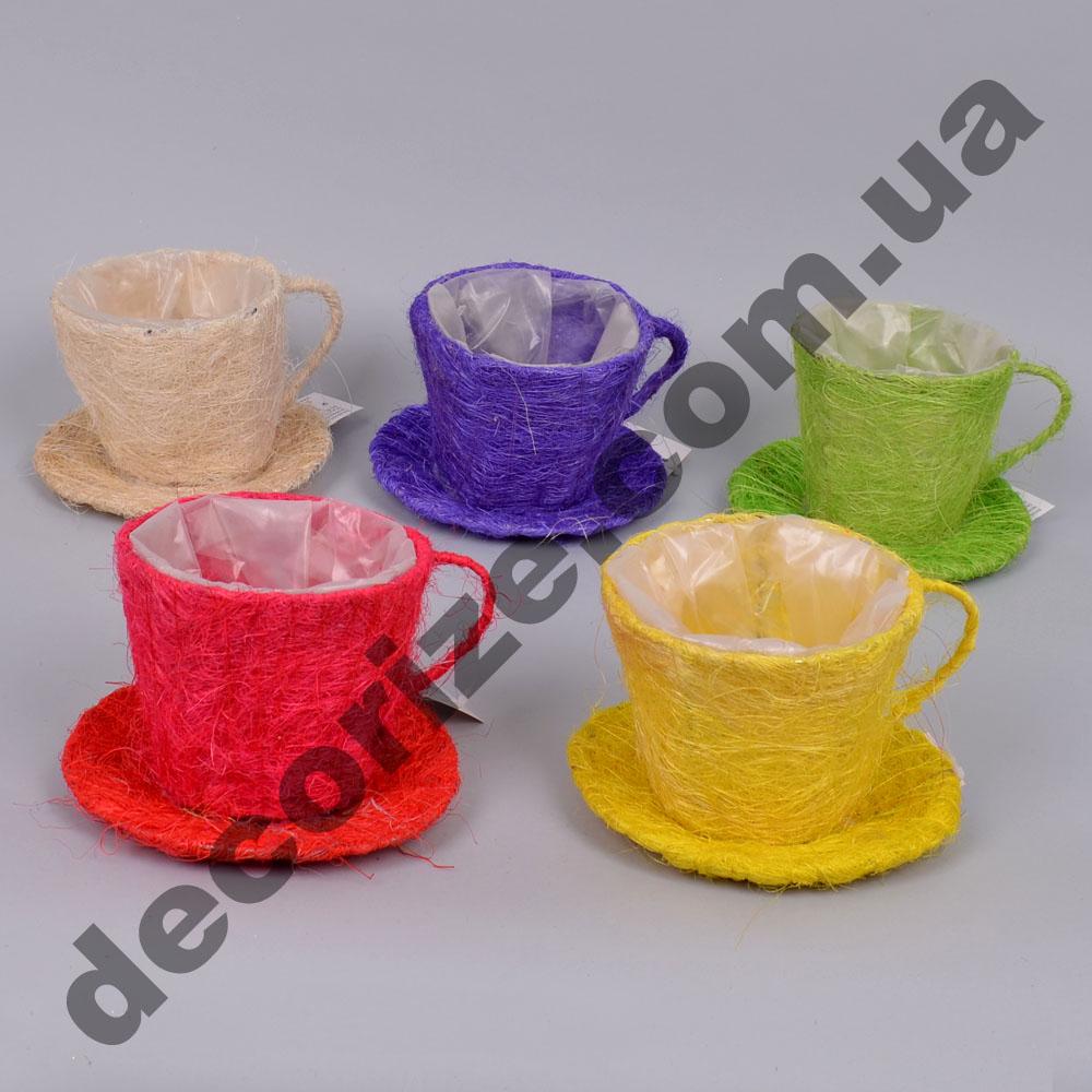 Кашпо декоративна чашка різнокольорова