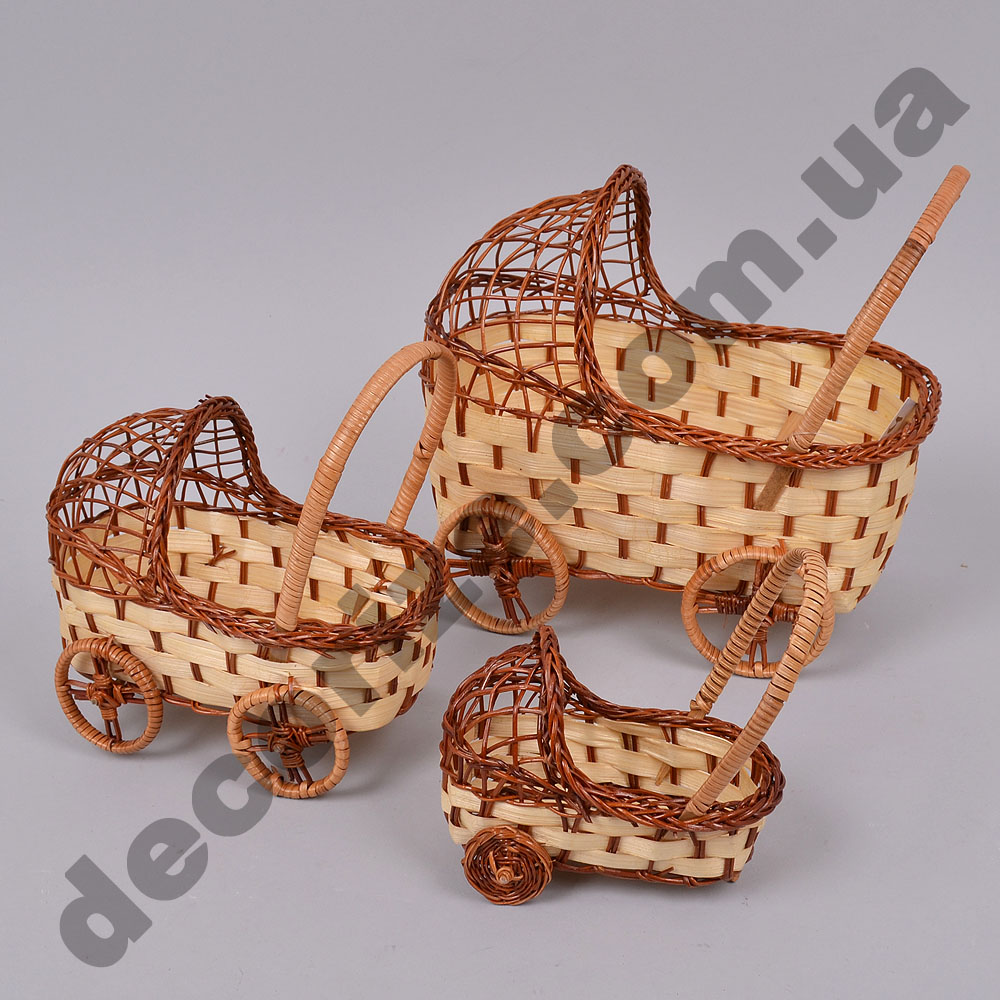 Кашпо - коляска з лози в наборі (3шт)