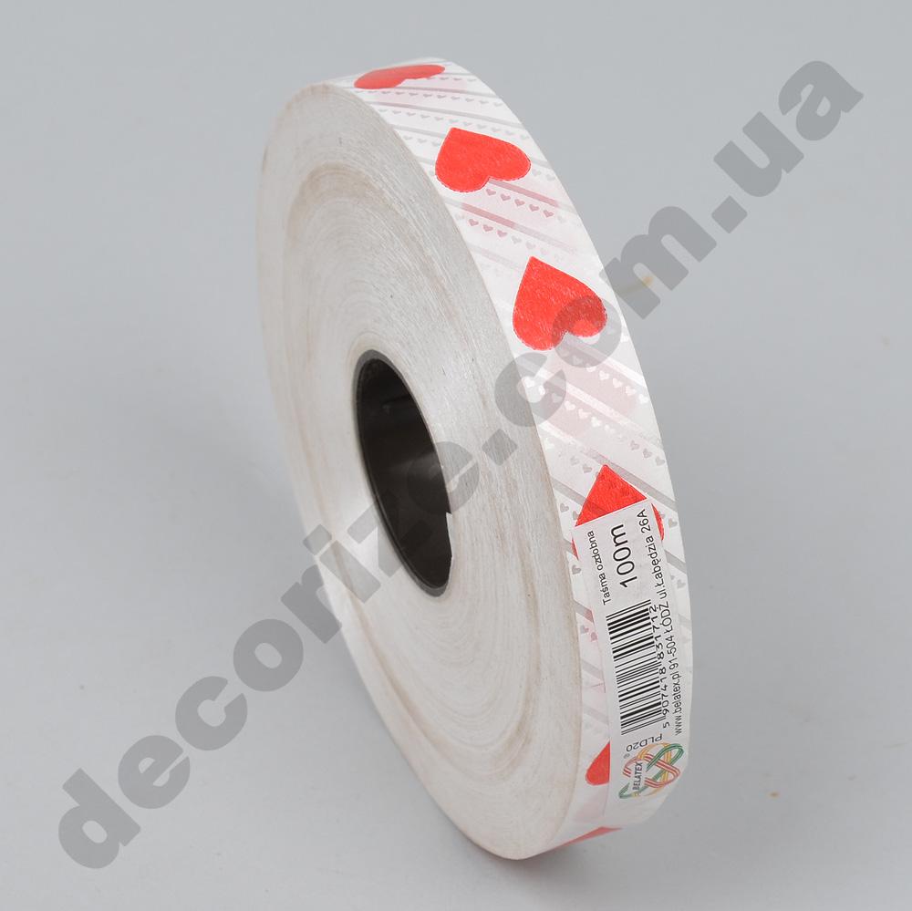 лента печатная 2 см с сердечками