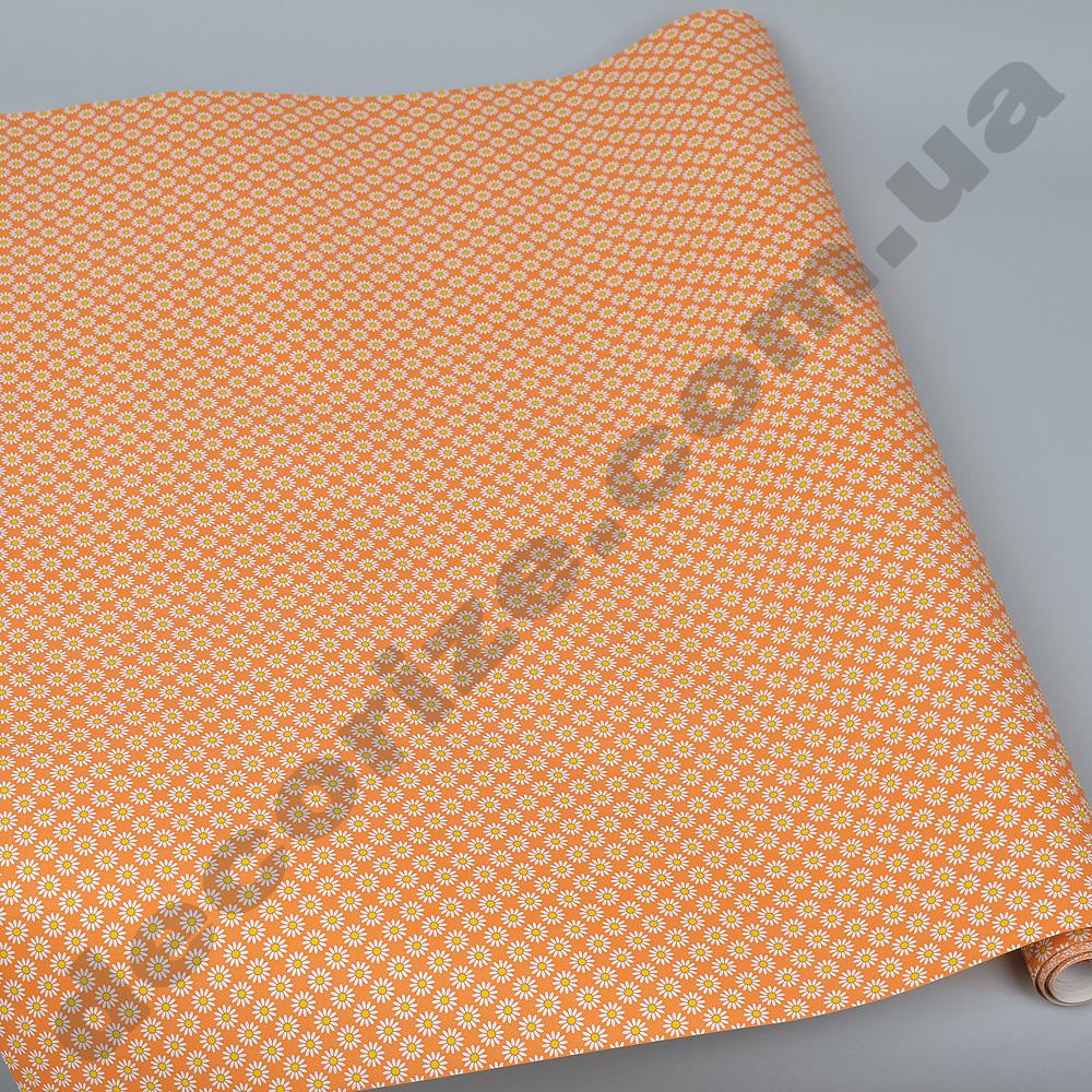 Упаковочная бумага в рулоне оранжевые ромашки 70см * 2м.