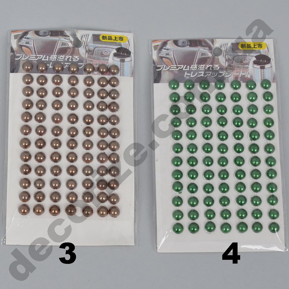 Наклейки-камушки круглые зеленые и коричневые  (84шт)